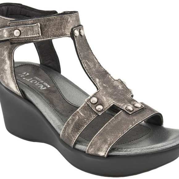 3dd4f00d1c25 Naot Flirt Gladiator Sandal metal Leather Wedge 6